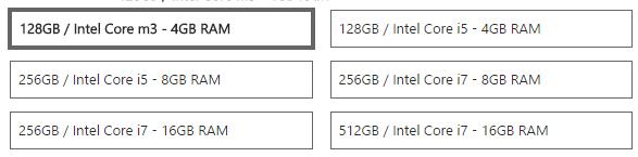 Surface Pro 4 Varianten